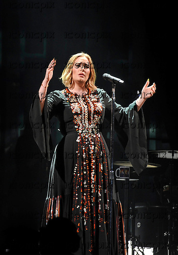 ADELE - performing live on the Pyramid Stage on Day Two at the 2016 Glastonbury Festival at Worthy Farm Pilton Somerset UK - 25 Jun 2016.  Photo credit: Zaine Lewis/IconicPix