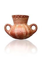 Very early Minoan rounded 2 handled pot with white and red linear motifs,  vaulted tombs Lebena 3000-2100 BC BC, Heraklion Archaeological  Museum, white background.<br /> <br /> Made of grey clay these pots are the earliest found in the Lebena vaulted tombs