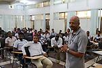 ETHIOPIA , Dire Dawa / AETHIOPIEN, Dire Dawa, Kapuziner Fr. Worku Demeke vor Jugendlichen der Gemeinde