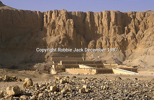 Deir el-Bahari the mortuary temple of Queen Hatshepsut who ruled Egypt from 1479-1478 BC at Thebes.Thebes is the name the Greeks gave to Waset, the ancient capital of Egypt.