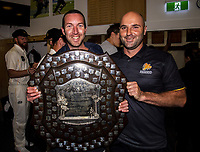 Ryan Holland and Luke Woodock. The Wellington Firebirds celebrate winning the 2019-2020 Plunket Shield at Basin Reserve in Wellington, New Zealand on Thursday, 19 March 2020. Photo: Dave Lintott / lintottphoto.co.nz