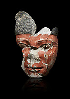 Ancient Egyptian statue head of a monarch, limestone, Middle Kingdom, mid 12th Dynasty, (1900-1850 BC), Qqw el-Kebir, tomb of Ibu. Egyptian Museum, Cat 4410 Turin. black background.