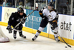 SIOUX FALLS, SD - JANUARY 1: Dominic Zombo #17 of the Sioux Falls Stampede looks for a teammate past Brian Cooper #2 from the Fargo Force in the first period of their game Saturday night at the Arena. (Photo by Dave Eggen/Inertia)
