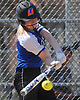 Meghan Vecchione #6, Calhoun pitcher, strokes a run-scoring single in the bottom of the third inning of a Nassau AA-I/AA-II crossover game against Baldwin at Calhoun High School on Saturday. April 14, 2018. Vecchione tossed a shutout struck out 15 batters in Calhoun's 9-0 win.