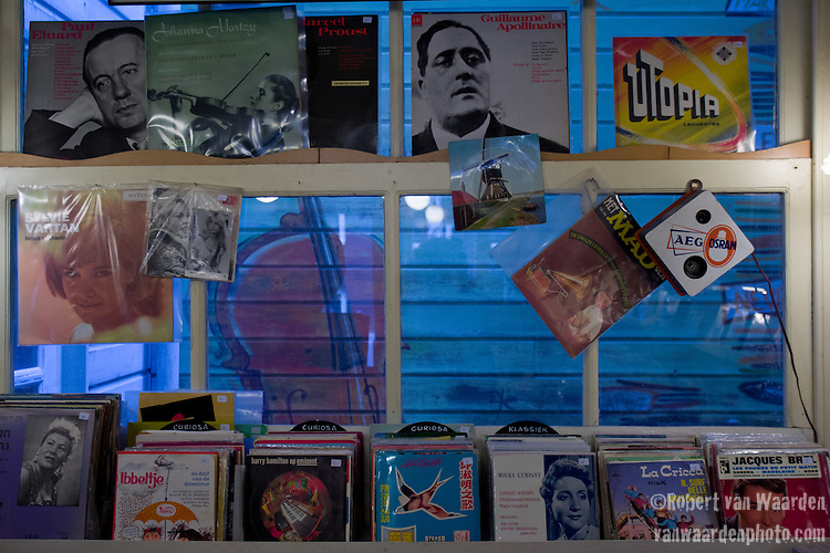 The interior of a vinyl music store in Amsterdam.