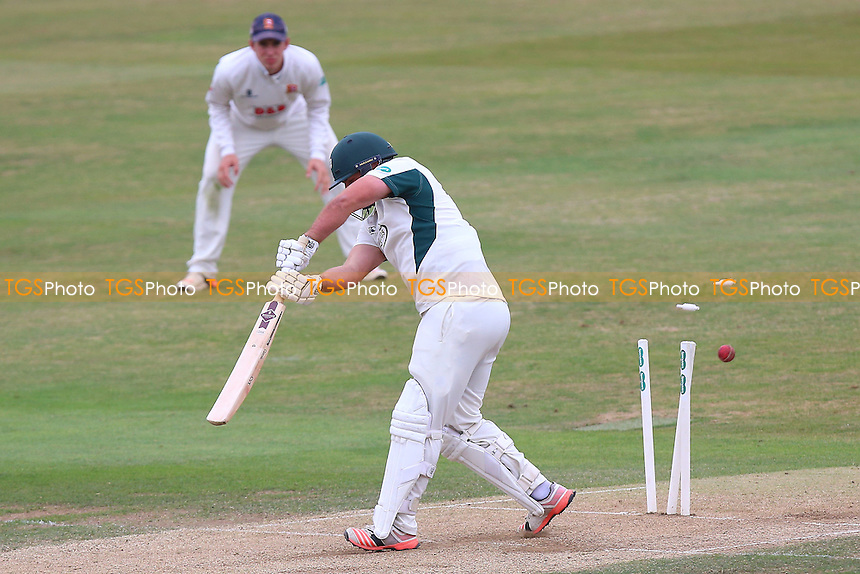 Joe Leach of Worcestershire is bowled out by Graham Napier during Essex CCC vs Worcestershire CCC, Specsavers County Championship Division 2 Cricket at the Essex County Ground on 2nd September 2016