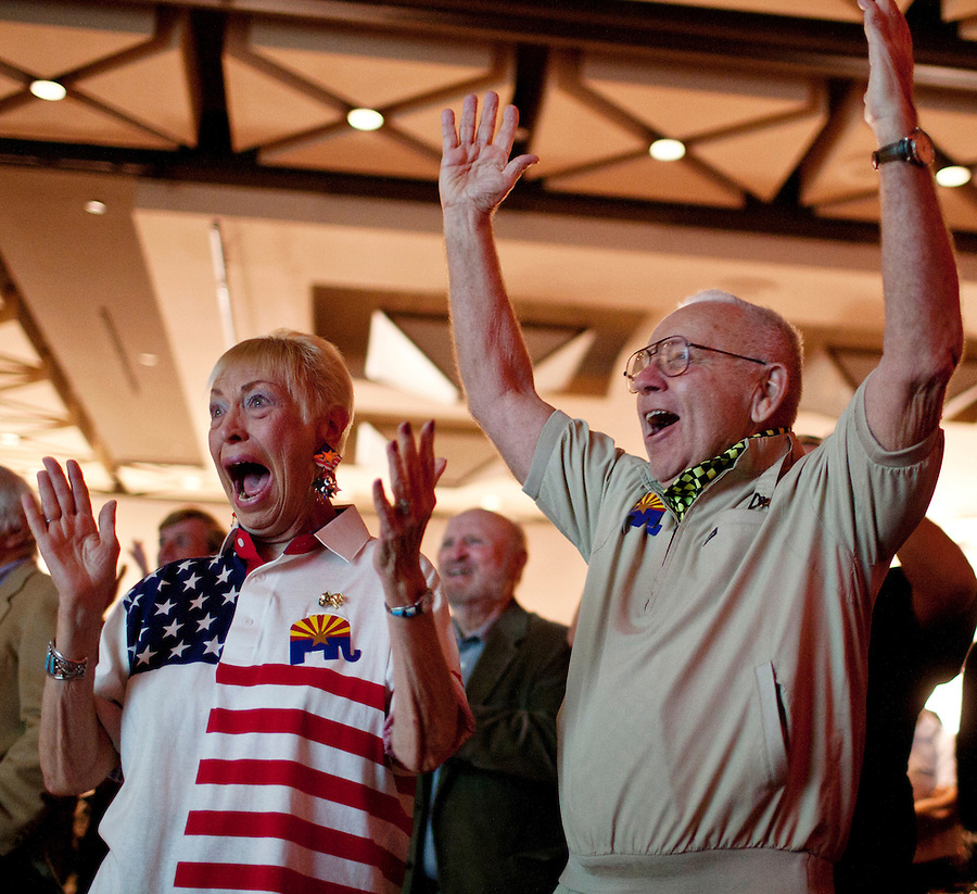 167195  Elect-governor1102 11/2/10- Margot Wittenberg and her husband Russ Wittenberg, (CQ) of Carefree, celebrate while watching election results at the GOP election headquarters at the Hyatt in downtown Phoenix. (Pat Shannahan/ The Arizona Republic)