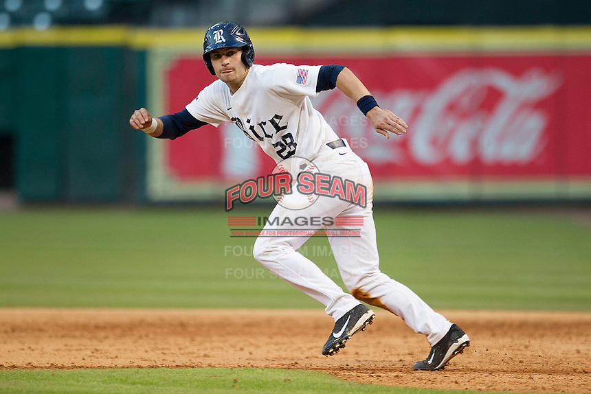 Rice Owls catcher Geoff Perrot #28 sprints towards second base during the NCAA baseball game against the North Carolina Tar Heels on March 1st, 2013 at Minute Maid Park in Houston, Texas. North Carolina defeated Rice 2-1. (Andrew Woolley/Four Seam Images).