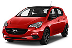 2018 Opel Corsa Black-Edition 5 Door Hatchback Angular Front stock photos of front three quarter view