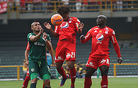 BOGOTA -COLOMBIA, 19-02-2017.Yorleys Mena (Center) and Yonny Mosquera (R)  players of America De Cali fights the ball agaisnt of Diego Alvarez (L) player of La Equidad.Action game between  La Equidad and America de Cali during match for the date 4 of the Aguila League I 2017 played at Ne stadium . Photo:VizzorImage / Felipe Caicedo  / Staff