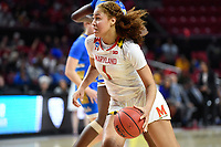College Park, MD - March 25, 2019: Maryland Terrapins forward Shakira Austin (1) handles the ball during second round game of NCAAW Tournament between UCLA and Maryland at Xfinity Center in College Park, MD. UCLA advanced to the Sweet 16 defeating Maryland 85-80.(Photo by Phil Peters/Media Images International)