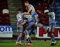 Lincoln City's Harry Anderson celebrates scoring the opening goal with team-mates<br /> <br /> Photographer Andrew Vaughan/CameraSport<br /> <br /> The Carabao Cup First Round - Huddersfield Town v Lincoln City - Tuesday 13th August 2019 - John Smith's Stadium - Huddersfield<br />  <br /> World Copyright © 2019 CameraSport. All rights reserved. 43 Linden Ave. Countesthorpe. Leicester. England. LE8 5PG - Tel: +44 (0) 116 277 4147 - admin@camerasport.com - www.camerasport.com
