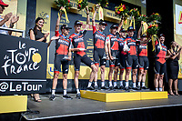 Team BMC wins the ttt and leads Greg Van Avermaet (BEL/BMC) to the first place in GC and takes the Yellow Jersey.<br /> <br /> Stage 3 (Team Time Trial): Cholet > Cholet (35km)<br /> <br /> 105th Tour de France 2018<br /> ©kramon