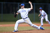 South Dakota State JackRabbits pitcher Blake Fiedelman (18) delivers a pitch during a game against the Maine Black Bears at South County Regional Park on March 9, 2014 in Port Charlotte, Florida.  Maine defeated South Dakota 5-4.  (Mike Janes/Four Seam Images)