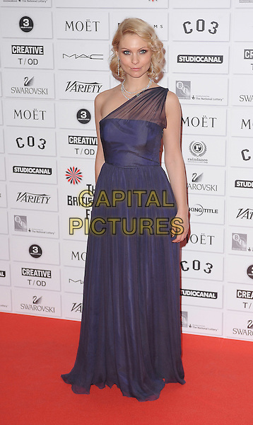 Myanna Buring.14th Moet British Independent Film Awards 2011, Old Billingsgate, Lower Thames Street, London, England, 4th December 2011.full length purple one shoulder sheer dress.CAP/BEL.©Tom Belcher/Capital Pictures.