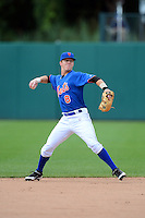 Greg Deichmann (8) of Brother Martin High School in New Orleans, Louisiana playing for the New York Mets scout team during the East Coast Pro Showcase on August 1, 2013 at NBT Bank Stadium in Syracuse, New York.  (Mike Janes/Four Seam Images)