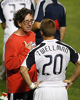 New England Revolution assistant coach Paul Mariner talks with forward Taylor Twellman (20) during a break in overtime. The New England Revolution (MLS) defeated Crystal Palace FC USA of Baltimore (USL2) 5-3 in penalty kicks after finishing regulation and overtime tied at 1-1 during a Lamar Hunt US Open Cup quarterfinal match at Veterans Stadium in New Britain, CT, on July 8, 2008.