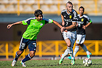 Petrisor Voinea of Sun Pegasus FC (R) followed by Haopeng Wu of Wofoo Tai Po (L) during the HKFA Premier League between Wofoo Tai Po vs Sun Pegasus at the Tai Po Sports Ground on 22 November 2014 in Hong Kong, China. Photo by Aitor Alcalde / Power Sport Images
