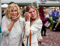OLDSMAR, FL - MARCH 10: Tears of joy for the connection after Quip #10, ridden by Florent Geroux won the Tampa Bay Derby on Tampa Derby Day at Tampa Bay Downs on March 10, 2018 in Oldsmar, FL. (Photo by Scott Serio/Eclipse Sportswire/Getty Images)