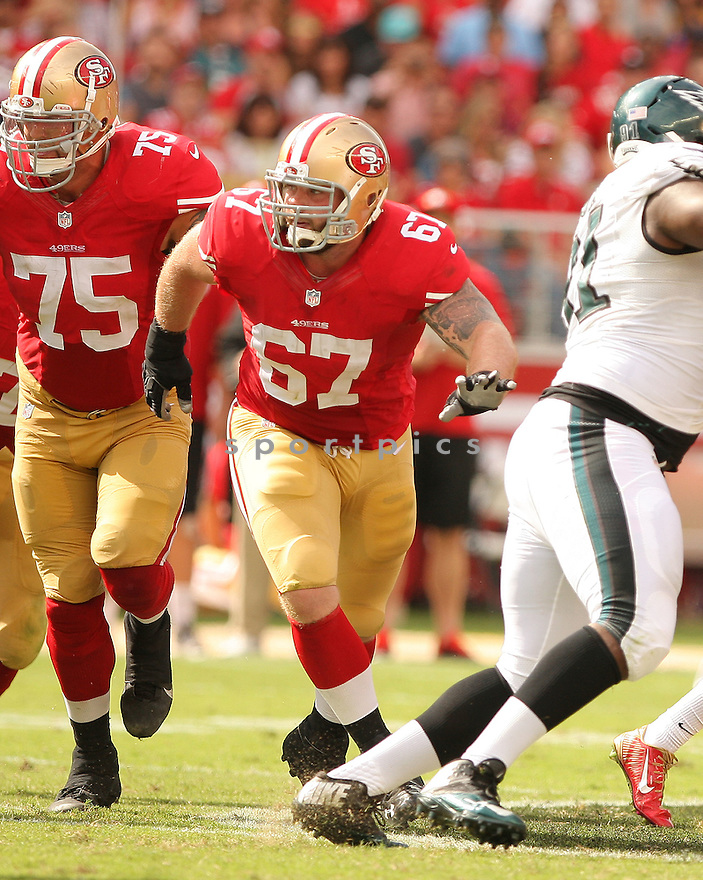 San Francisco 49ers Daniel Kilgore (67) during a game against the Philadelphia Eagles on September 28, 2014 at Levi's Stadium in Santa Clara, CA. The 49ers beat the Eagles 26-21.