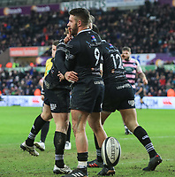 Ospreys' Rhys Webb celebrates scoring his side's third try.<br /> <br /> Photographer Dan Minto/CameraSport<br /> <br /> Guinness Pro14 Round 13 - Ospreys v Cardiff Blues - Saturday 6th January 2018 - Liberty Stadium - Swansea<br /> <br /> World Copyright &copy; 2018 CameraSport. All rights reserved. 43 Linden Ave. Countesthorpe. Leicester. England. LE8 5PG - Tel: +44 (0) 116 277 4147 - admin@camerasport.com - www.camerasport.com