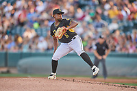 Salt Lake Bees starting pitcher Luis Pena (6) delivers a pitch to the plate against the Memphis Redbirds at Smith's Ballpark on July 24, 2018 in Salt Lake City, Utah. Memphis defeated Salt Lake 14-4. (Stephen Smith/Four Seam Images)
