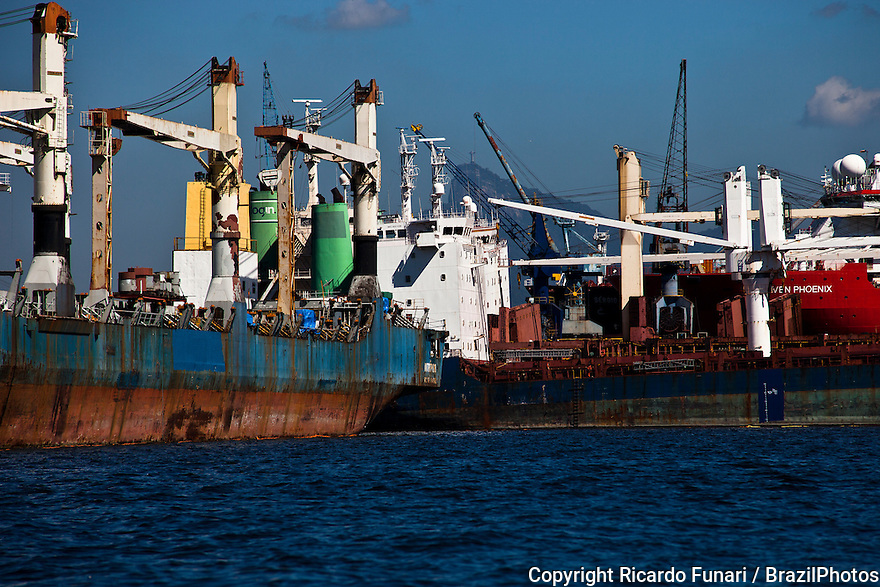 Guanabara bay pollution, heavy vessel and ship traffic inside Guanabara Bay.