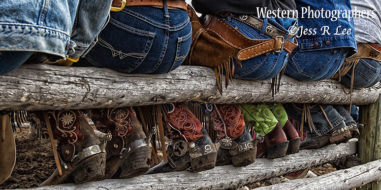 Boots, Butts and Spurs. Cowboys and cowgirls setting on a rail in chaps and jeans Cowboy Photos, riding,roping,horseback