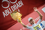 Peter Sagan finishes 2nd on Stage 2, The Capital Stage, and takes over the young rider's White Jersey of the 2015 Abu Dhabi Tour running 129 km from Yas Marina Circuit to Yas Mall, Abu Dhabi. 9th October 2015.<br /> Picture: ANSA/Angelo Carconi | Newsfile
