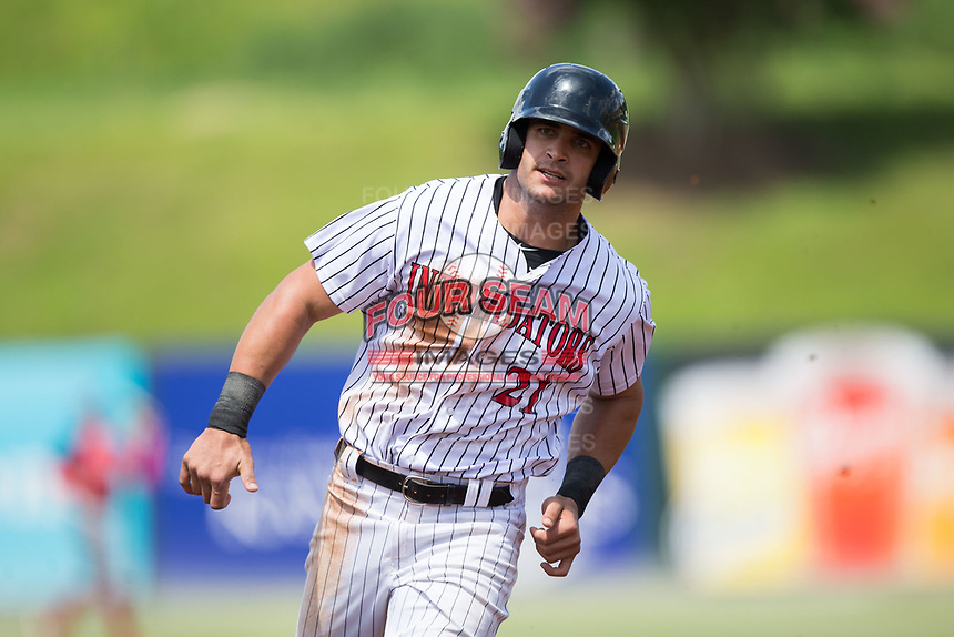 Aaron Schnurbusch (21) of the Kannapolis Intimidators hustles towards third base against the Hagerstown Suns at Kannapolis Intimidators Stadium on July 9, 2017 in Kannapolis, North Carolina.  The Intimidators defeated the Suns 3-2 in game one of a double-header.  (Brian Westerholt/Four Seam Images)