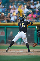 David Fletcher (15) of the Salt Lake Bees bats against the New Orleans Baby Cakes at Smith's Ballpark on June 8, 2018 in Salt Lake City, Utah. Salt Lake defeated New Orleans 4-0.  (Stephen Smith/Four Seam Images)