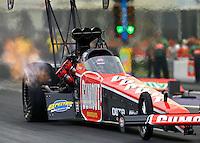 Apr 24, 2015; Baytown, TX, USA; NHRA top fuel driver Leah Pritchett during qualifying for the Spring Nationals at Royal Purple Raceway. Mandatory Credit: Mark J. Rebilas-