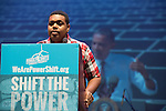 Ishmael Buckner gives a keynote speech at Powershift. Over six thousand young people from all over the country are converging in Pittsburgh, PA for Power Shift 2013, a massive training dedicated to bringing about a safe planet and a just future for all people. (Photo by: Robert van Waarden)