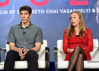 """PASADENA, CA - FEBRUARY 8: Film subjects Alex Honnold and Sanni McCandless attend the """"Free Solo"""" panel at the 2019 National Geographic portion of the Television Critics Association Winter Press Tour at The Langham Huntington Hotel on February 8, 2019 in Pasadena, California. (Photo by Frank Micelotta/Fox/PictureGroup)"""