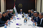 Palestinian President Mahmoud Abbas chairs a meeting of Central Committee of Fatah movement, in the West Bank city of Ramallah on August 9, 2017. Photo by Thaer Ganaim