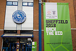 An advertisement for England's 2018 World Cup bid on display outside the main stand as Sheffield Wednesday take on Peterborough United in a Coca-Cola Championship match at Hillsborough Stadium, Sheffield. The home side won by 2 goals to 1 giving Alan Irvine his third straight win since taking over as Wednesday's manager.