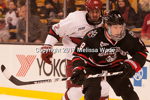 Tyler Moy (Harvard - 2), Adam Gaudette (NU - 8) - The Harvard University Crimson defeated the Northeastern University Huskies 4-3 in the opening game of the 2017 Beanpot on Monday, February 6, 2017, at TD Garden in Boston, Massachusetts.