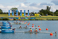29.07.2012. Windsor, England. Great Britains Zac Purchase and Mark Hunter (GBR) line up at the start of the Lightweight Mens Double Sculls Heat 2 during the Rowing on Day 2 of the London 2012 Olympic Games at the Olympic Rowing Centre at Eton Dorney.