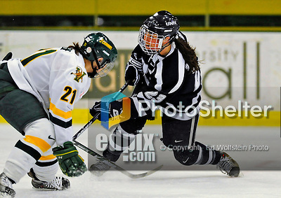 8 February 2009: University of New Hampshire Wildcats' forward Angela Taylor, a Senior from Paisley, Scotland, takes a shot against the University of Vermont Catamounts in the second game of a weekend series at Gutterson Fieldhouse in Burlington, Vermont. The Wildcats defeated the lady Catamounts 6-2 to sweep the 2-game series. Mandatory Photo Credit: Ed Wolfstein Photo