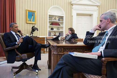 United States President Barack Obama talks on the phone withFBI Director Robert Mueller to receive an update onthe explosions that occurred in Boston, in the Oval Office, April 15, 2013. Seated with the President are Lisa Monaco, Assistant to the President for Homeland Security and Counterterrorism, and Chief of Staff Denis McDonough. .Mandatory Credit: Pete Souza - White House via CNP