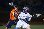 Connor Robinson (3) of the High Point Panthers is checked by Chase Campbell (24) of the Virginia Cavaliers during fourth quarter action at Vert Track, Soccer & Lacrosse Stadium on February 20, 2018 in High Point, North Carolina.  The Cavaliers defeated the Panthers 18-12.  (Brian Westerholt/Sports On Film)