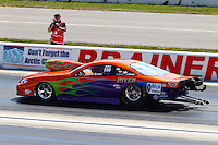 Aug. 17, 2013; Brainerd, MN, USA: NHRA pro stock driver Dave River during qualifying for the Lucas Oil Nationals at Brainerd International Raceway. Mandatory Credit: Mark J. Rebilas-