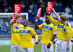 Inverness Caledonian Thistle v St Johnstone...27.10.12      SPL.Nigel Hasselbaink all smiles as they display the Show Racism the Red Card signs.Picture by Graeme Hart..Copyright Perthshire Picture Agency.Tel: 01738 623350  Mobile: 07990 594431