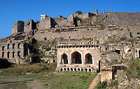 The exterior of the ruins of the Golconda Fort. Hyderabad, India.