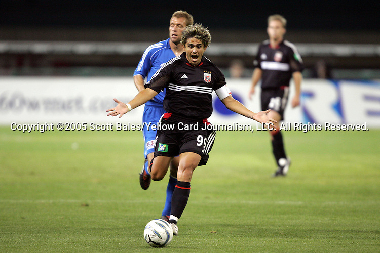 21 May 2005: DC United's Jaime Moreno reacts to the referee's whistle. DC United defeated the Kansas City Wizards 3-2 at RFK Stadium in Washington, DC in a regular season Major League Soccer game. .