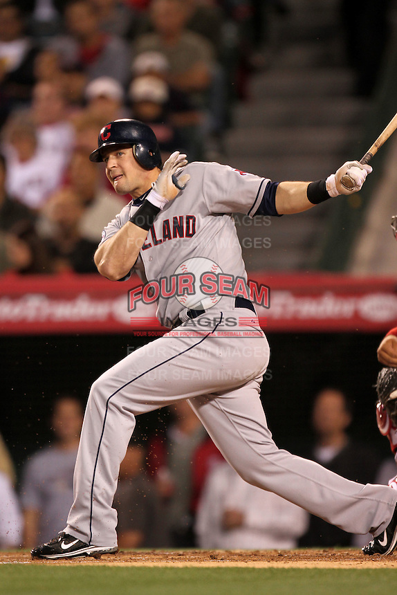 Matt LaPorta #7 of the Cleveland Indians bats against the Los Angeles Angels at Angel Stadium in Anaheim,California on April 11, 2011. Photo by Larry Goren/Four Seam Images