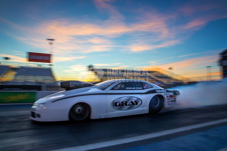 Feb 3, 2015; Chandler, AZ, USA; NHRA pro stock driver Shane Gray during testing at Wild Horse Motorsports Park. Mandatory Credit: Mark J. Rebilas-USA TODAY Sports