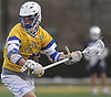 Ryan Tierney #43 of Hofstra University gets ready to shoot on goal during an NCAA men's lacrosse game against Monmouth at Shuart Stadium in Hempstead, NY on Wednesday, March 14, 2018. He scored three goals in Hofstra's 7-6 win.