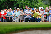 28th May 2017, Fort Worth, Texas, USA; Jordan Spieth lines up his putt on #8 during the final round of the PGA Dean & Deluca Invitational at Colonial Country Club in Fort Worth, TX.