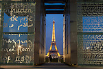Wall of peace and tour Eiffel, Paris, Ile de France, France